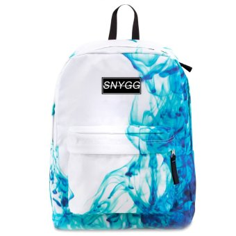 SNYGG Sided Water Print Backpack (Blue/White)
