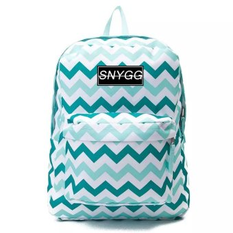 SNYGG Zigzag Print Backpack (Green)