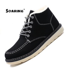 Soaring 2017 Fashion Snow Boot for Men Lace-up Winter Shoes Real Sheepskin  Leather Nature 1d27aeb635