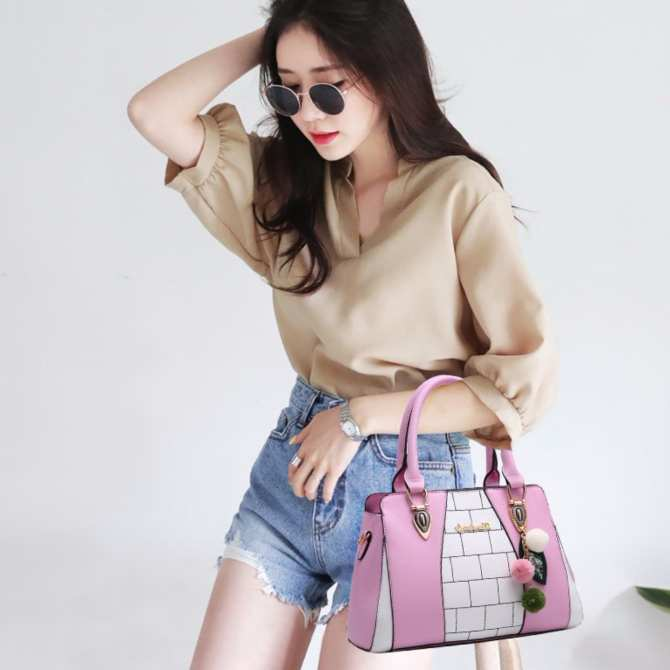 Sophie Bricked Hand Bag (Pink)