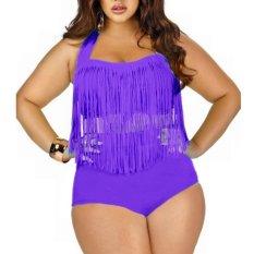 35f2ebc10f1 Spring Fever Plus Size Retro High Waist Braided Fringe Top Bikini Swimwear  for Women - intl