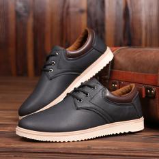 Men Korean waterproof big business leather shoes (Black) (Black) Philippines
