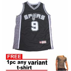 half off 7d40e 54c05 PEARLY FASHION Spurs 9 NBA Baketball Jersey Sando BLACK Adult with free  t-shirt