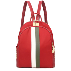 e5fd0b7fd4 Star Korean female celebrity inspired nylon Oxford backpack (Wine red color  with green white striped