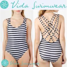 d2296f58f1d15 Stripes One Piece Swimwsuit X Strappy Back Women's Swimwear and Bathing Suit