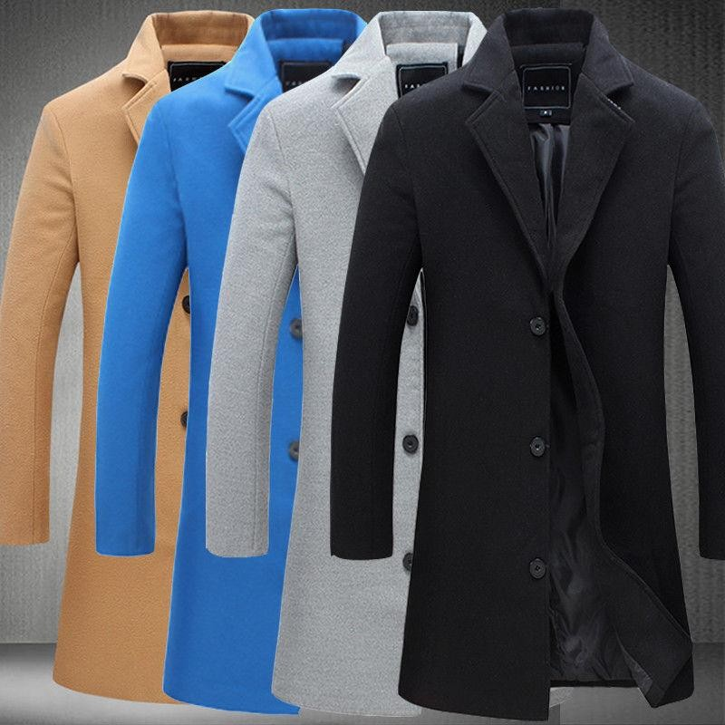c133f7fa9 2018 Men's Casual Thicken Woolen Coat Solid color Slim Fit Trench Coat  Business Overcoat Winter Long Sleeve Outerwear Plus size