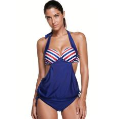 86ffb57aeb842 Summer Beach Multicolor Stripes Tops and Shorts Tankini Swimsuit-Navy Blue  08 - intl