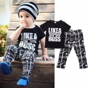 Summer Fashion 2PCS Kids Baby Boy Outfits T-shirt+Pants Trouser Clothes Set - intl