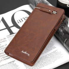Sunking New Men Long Business Wallet Multi-function Zipper Card Holders Leather Purse (Coffee