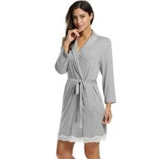 7fae56ebdad7 Toprank Avidlove Women Ladies Turn Down Neck Nightgown Lace Decor Tunic  Slim Nightwear Sleepwear Robe with