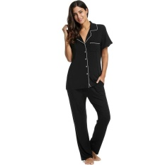Topsellers365 Best For Women Casual Sleepwear Short Sleeve Solid Pajama Set  with Pj Pants ( Black e19d689e4