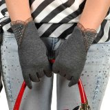 Touch Screen Winter Warm Wrist Gloves Mittens Gray - thumbnail 1