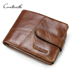 TP Contacts Classical Genuine Cowhide Leather Men Wallet Crossdesign With Zipper N1103-2 (Brown