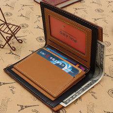 TP Genuine Leather Men's Wallet Business Credit Card Money Holderpurse Bifold Gift Light Coffee - intl
