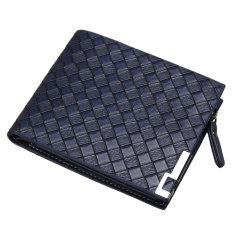 TP Men Leather Zip Bifold Wallet Money Clip Card Holder Pocket Pursecase Clutch Blue - intl