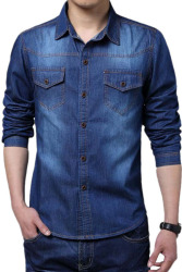 Turn-down Collar Long Sleeve Casual Shirt (Blue)
