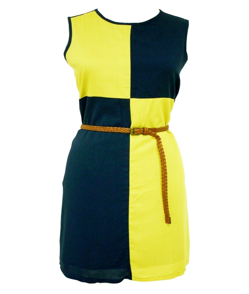 Two Tone Shimmer Dress with Belt No.25H3 (Mustard/Navy Blue) - thumbnail