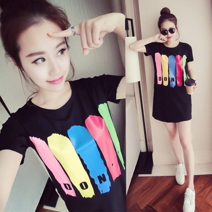 Ulzzang student mid-length short sleeved t-shirt dress for women (Black) Women Lingerie Sleep Lounge Sleep Loungewear