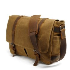 d529e7a050 Unisex Adult Vintage Oil Wax Canvas Leather Waterproof Single Shoulder  Messenger Bag (Khaki) -