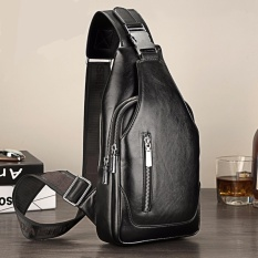 Upgraded Chest Bag Comes With Usb Interface Leather Mens Sling Single Shoulder Men