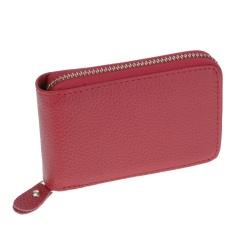 Vanker-Luxury Unisex Genuine Leather Card Holder Short Wallet Zipper Purse With 10 Slots (