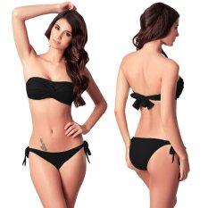 8ff330eaec Vanker Women Sexy Push-up Chest Pad Bra Separates Swimsuit Lacing Bikini  Black