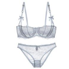 9891f30ff9 Varsbaby Women s Ultrathin Lace Transparent Half Cup Bra Set(White) - Intl
