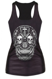 Velishy Cross Skull Printed Tank Top (Black) - thumbnail 1