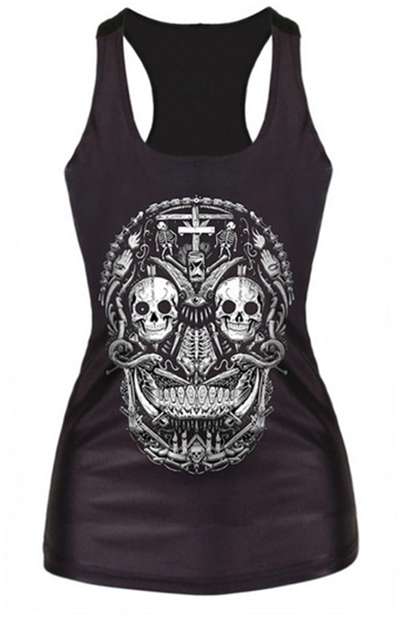 Velishy Cross Skull Printed Tank Top (Black) - thumbnail