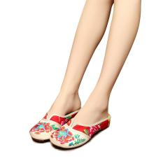 Veowalk Chinese Floral Embroidered Women's Casual Canvas Flat Slides Slippers Summer Fashion Comfort Cotton Sandals Shoes