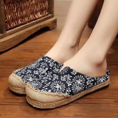 Veowalk Floral Patchwork Women's Leisure Linen Flat Slides Slippers Summer Comfort Ladies Outdoor Sandals Shoes Black