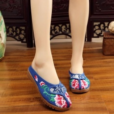 Veowalk Flower Embroidered Women Slippers Spring And Summer Slides Chinese Style Casual Sandals Shoes Woman Blue