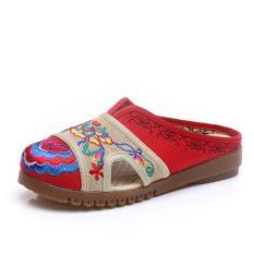 Veowalk Flower Embroidered Women's Cotton Linen Slippers Summer Ladies Canvas Flat Slides Sandals Woman Comfort Walking