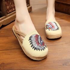 Veowalk Indian Embroidery Women Linen Flat Slides Slippers Summer Fashion Ladies Canvas Outdoor Sandals Shoes Beige