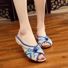 Veowalk Open Peep Toe Summer Women Embroidered Linen Canvas Slides Slippers Flat Shoes Blue - intl
