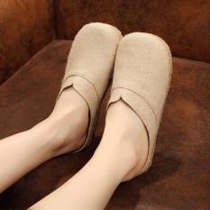 Veowalk Solid Color Women Casual Linen Flat Slides Slippers Summer Fashion Ladies Outdoor Sandals Shoes Beige