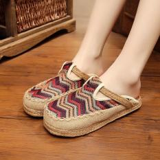 Veowalk Stripped Embroidered Women Casual Linen Flat Slides Slippers Summer Fashion Ladies Outdoor Sandals Shoes Brown