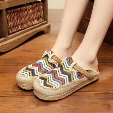 Veowalk Stripped Embroidered Women Casual Linen Flat Slides Slippers Summer Fashion Ladies Outdoor Sandals Shoes White