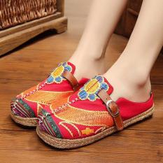 Veowalk Sunflower Embroidered Women Casual Linen Flat Slides Slippers Summer Fashion Ladies Outdoor Sandals Shoes Red