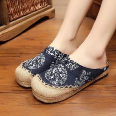 Veowalk Thailand Dragon Totem Women's Hnadmade Linen Flat Slides Slippers Comfort Ladies Canvas Sandals Shoes Black