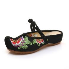 Veowalk Vintage Embroidered Women Cotton Slippers Slip on Ladies Canvas Flat Slides Summer Sandals Shoes Zapatos