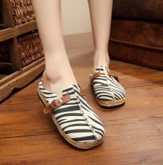 Veowalk Zebra Embroidered Women's Casual Linen Flat Slides Slippers Summer Comfort Ladies Outdoor Sandals Shoes Black