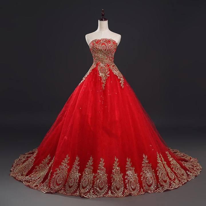 Vintage Lace Red Wedding Dresses Women New Fashion Elegant