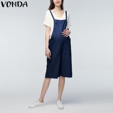 595d2f7747d VONDA 2018 Summer Casual Loose Rompers Womens Jumpsuits Maternity Clothings  Pregnant Pants Plus Size Pregnancy Trousers Bottoms Denim Blue - intl