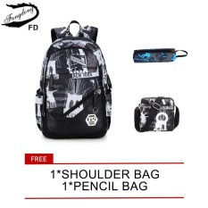 7cdbfe2dab7c waterproof oxford fabric boys school bags backpack for teenagers pencil  case blue book bag boy one