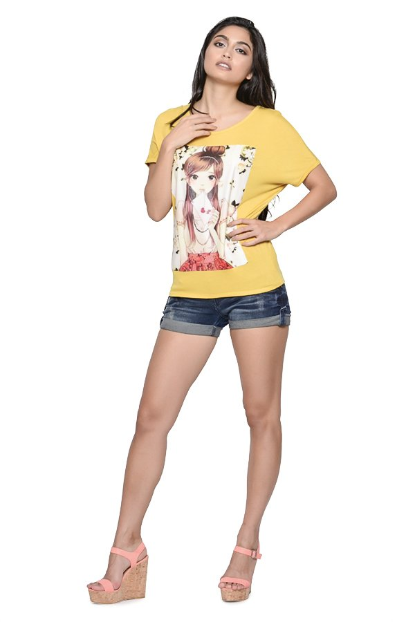 Weiying Lovely Anime Print 101 Continuous Sleeve Shirt (Yellow) - thumbnail