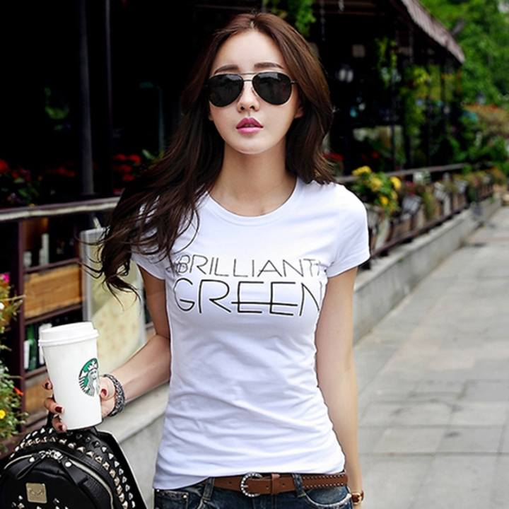 Short sleeved women New style T-shirt Top (White)