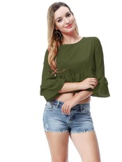 1aae02c3656f12 Woman showed belly button blouse women s brief paragraph T-shirt fashion  girl s T-shirt
