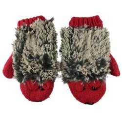 Women Double-Deck Mittens Knitted Warm Hedgehog Gloves Red