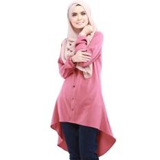 2c3ec8dc9e81e7 Women Fashion Tunic Blouse Abaya Islamic Muslim Wear Long Sleeve Tops  Dress-Pink - intl